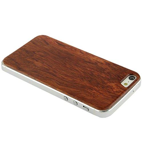 Mobile protection Para IPhone 5 & 5s & SE Caja de madera de remiendo de la contraportada de la cereza pura ( SKU : S-IP5G-6950B ) S-IP5G-6950
