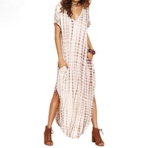 Igemy Frauen Dye Printed Side Split Loose Long Kleid gebogenen Saum V Neck Kurzarm Khaki