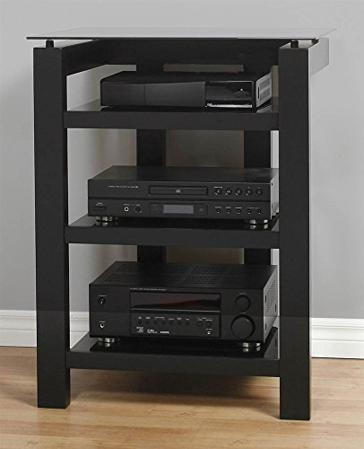 PLATEAU SL-4A B BG Wood and Glass Audio Stand, Black Satin Paint Finish by Plateau