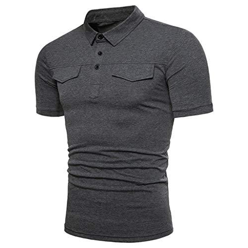 SFE Fashion Polo Shirts,Men Casual Summer Solid Turn-Down Collar Short Sleeve T-Shirt Tops Blouse Dark -