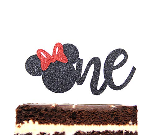 One Year Cake Topper Minnie Mouse Inspired First Birthday Party Decor Gold and Pink (Black) -