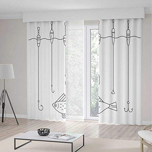 (ALUONI Window Curtains Blackout TT02 Nautical Decor for Bedroom Living Dining Room Kids Youth Room Illustration of Fishing Tackle Floaters Hooks 2 Panel Set 196W x 83LInches)