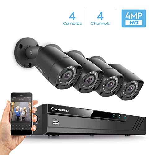 Amcrest UltraHD AMDV4M4-4B-B 4MP 4CH Video Security System - 4 x 4-Megapixel IP67 Bullet Cameras, Hard Drive Not Included, HD Over Analog/BNC (Black) (120 4 Channel Dvr)
