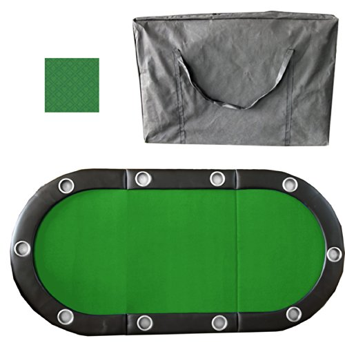 10 Player 84'' 3 Fold Folding Texam Hold'em Poker Table Top Suits Speed Cloth Stainless Cup Holder - Green by Pong-Buddy