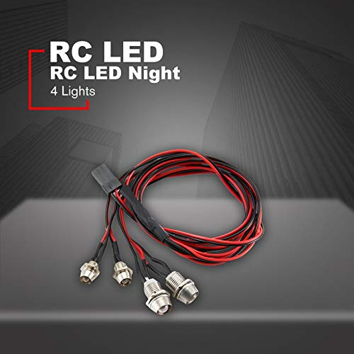 Negro y Rojo 4 luces 70 cm de longitud RC LED Faros delanteros Faros Faros de 3 5mm LED para el modelo Drift Crawler Car Para RC Car NSV775