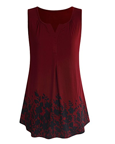 ABYOXI Tunic Tops for Leggings for Women,Ladies Sleeveless Pleated Fashion 2018 Clothe Cute Tank Top Shirts Claret XL by ABYOXI (Image #7)