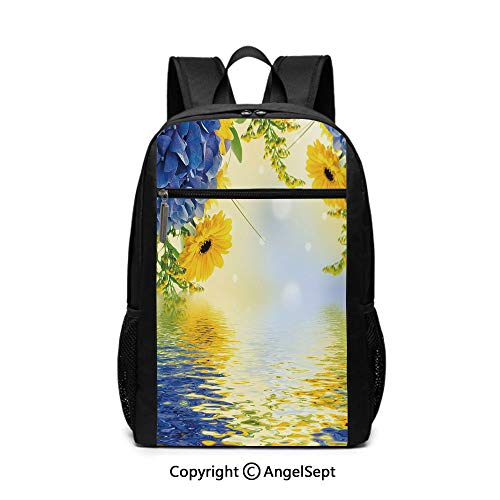 Travel Backpack Laptop Backpack,Romantic Bouquet of Hydrangeas and Asters on Water Background,Violet Blue Earth Yellow,6.5