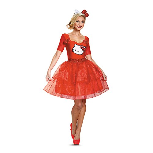 [Disguise Women's Hello Kitty Adult Deluxe Costume, Multi, X-Large] (Hello Kitty Costume For Adults)