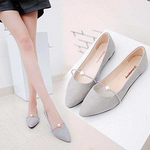 Xue Qiqi Flache Unterseite Sojabohnen Schuhe Satin mit Perlen Tipp Elegante Schuhe für Frauen Singles Schüler Sportliche Frauen Schuhe Einzelne Schuhe Grau ist eine zu kleine Anzahl