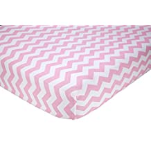 """Little Love by NoJo Separates Collection Printed Chevron Crib Sheet, Pink/White, 52"""" X 28"""""""