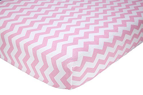 Little Love by NoJo Separates Collection Printed Chevron Crib Sheet, Pink/White, 52