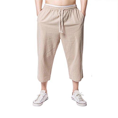 (iZHH Men's Jogging Fitness Flax Loose relaxatio Drawstring Pure Color Pant(Khaki,36))
