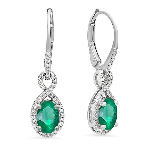 Natural Emerald Earrings (10K White Gold Oval Emerald & Round White Diamond Ladies Infinity Dangling Earrings)