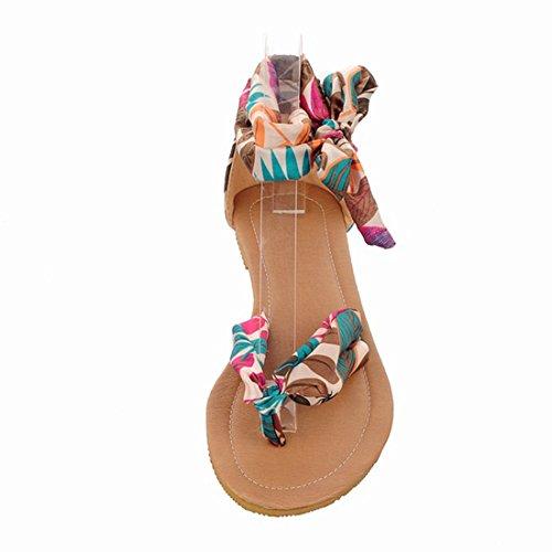 YE Damen Flache Beach Sandalen mit Schnürung und Riemchen Bequem Sommer Schuhe Blau