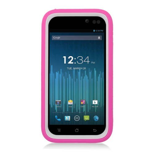 EagleCell Hybrid Armor Skin Protective Case Cover with Stand for BLU Advance 4.5 A310 - Retail Packaging - White/Hot (A310 Faceplates)