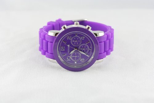 Geneva chronograph-style Silicone strap fashion watch ()