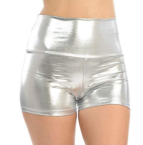 YiZYiF Girls Youth High Waist Stretchy Gymnastics Basics Shiny Metallic Dance Booty Shorts Silver 12 ()