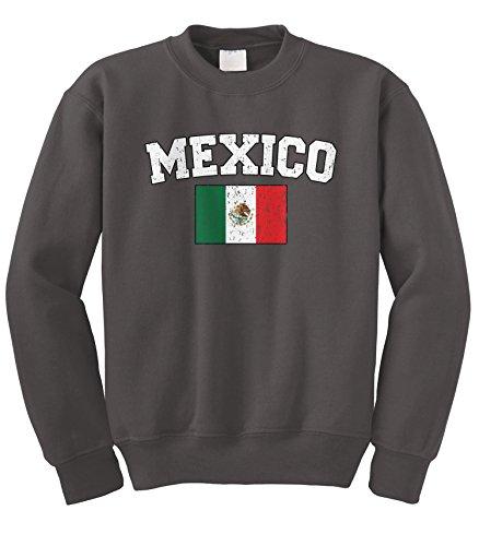 (Cybertela Faded Distressed Mexico Flag Crewneck Sweatshirt (Charcoal, Medium))