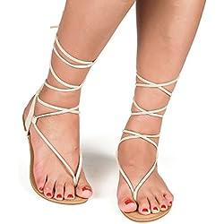 DREAM PAIRS Women's DARRE Nude Tie up Gladiator Flat Sandals Flat Sandals - 8.5 M US