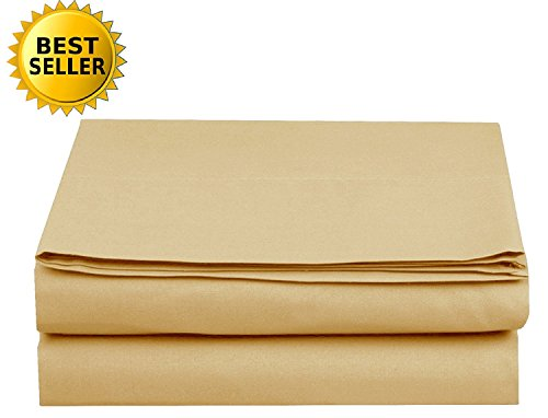 Luxury Fitted Sheet on Amazon Elegant Comfort Wrinkle-Free 1500 Thread Count Egyptian Quality 1-Piece Fitted Sheet, Twin/Twin XL Size, Gold ()