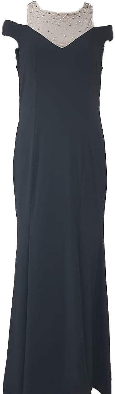 Sequined Long Dress Streched honey tradex Black Spun Knit