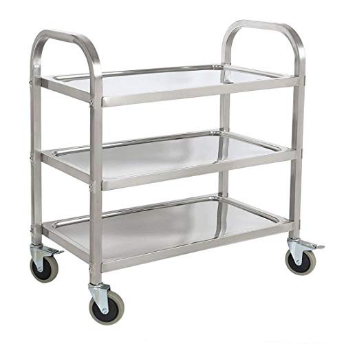 - Stainless Steel 3-Shelf Utility Service Storage Cart for Restaurant Catering Kitchen Up to 300 lbs Capacity Stainless Steel Carts - 29.5