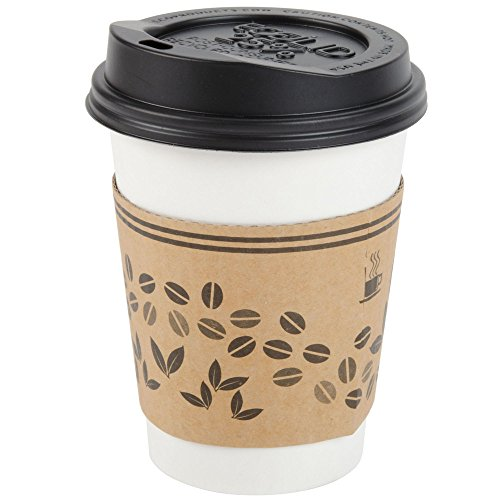 Brheez 10 oz. Paper Hot Cups Bundle, Perfect Fit Snug Lids and Insulated Sleeves - 10 Ounce White Cups - Disposable and Durable Travel Coffee/Tea Mugs - Pack of 50 - Disposable Coffee Mugs With Lids