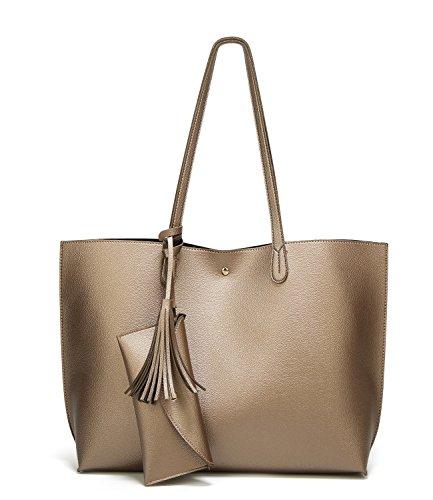 Simple Shoes Bags - SIFINI Women Tassels PU Leather Bag Simple Style Shopping Handbag Shoulder Tote Bag (Bronze)