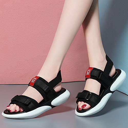 AJUNR Donna alla Moda Nuovo Appartamento Appartamento Appartamento Sandali Studenti Signore di Moda Le Scarpe Sportive Il Velcro dei Sandali bianca 36 cad6dd