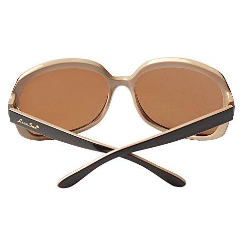 LianSan Women's Oversized Polarized Sunglasses Lsp301 (polarized brown 2)