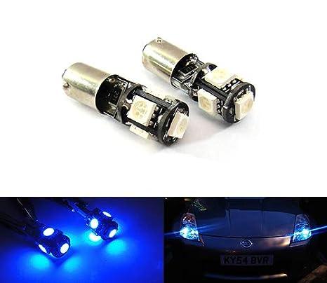 2 bombillas de bayoneta azul 233 T4W BA9s Canbus LED luz lateral indicador de placa de número de marcha atrás luz diurna DRL iluminación interior: ...
