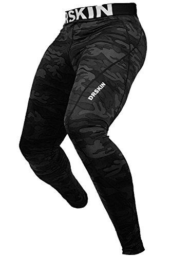 [DRSKIN] Militär Kompressionshose Base Layer Long Sleeve Under Männer Frauen Lang Shirt & Pants. (Black, L)