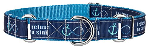 Country Brook Design Blue Refuse to Sink Ribbon Martingale Collar - Medium -