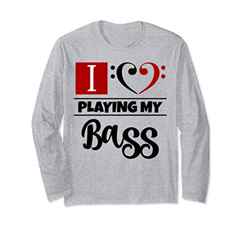 Double Black Red Bass Clef Heart I Love Playing My Bass Unisex Long Sleeve Shirt