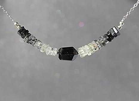 Collar de cuarzo negro con turmalina negra, collar de turmalina negra, collar de cuarzo rutilado, collar de piedras preciosas, collar de barra de 6 mm