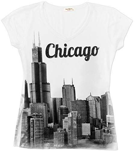 Sweet Gisele Chicago T Shirts for Women | V Neck | Skyline Design w/Rhinestones White