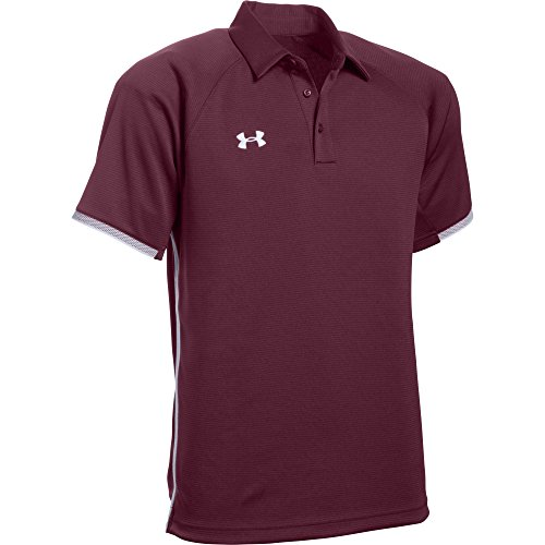 Under Armour Men's UA Rival Polo (Large, Maroon-White)