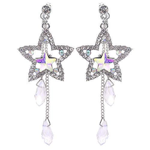 POQOQ Dangle Earring Crystal Long Chain Earrings Dainty Star Rhinestone Tassel Silver (Lanvin Type)