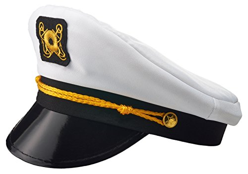 NJ Novelty Yacht Captain Hat Sailor Skipper Cap Sailor Adult Costume Accessory (Captain Adult Sea Hat)