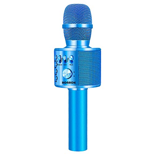 BONAOK Wireless Bluetooth Karaoke Microphone,3-in-1 Portable Handheld karaoke Mic Easter Gift Home Party Birthday Speaker Machine for iPhone/Android/iPad/Sony, PC and All Smartphone(Blue) ()