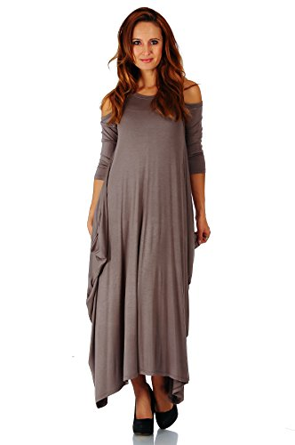 Simply Ravishing Rayon Span Maxi Cold Shoulder Boho Harem 3/4 Sleeve Dress, Small, Coco