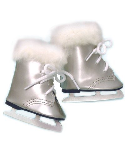 Doll Ice Skates, Fits 18 Inch American Girl Doll Shoes and More! 18 Inch Doll Silver Skates with Fur - Skates Girl American Ice