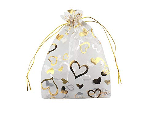 QIANHAILIZZ 5 x 7 Inch 100 Heart Organza Jewelry Gift Pouch Candy Pouch Flower Drawstring Wedding Favor Bags (White Gold Heart)