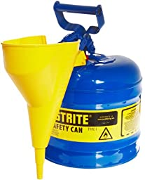Justrite 7120310 2 Gallon, Galvanized Steel Type I Blue Safety Can With Funnel