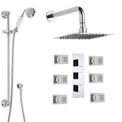 (Genoa Square Bathroom Shower Set with Rainfall Shower Head & Hand Shower)