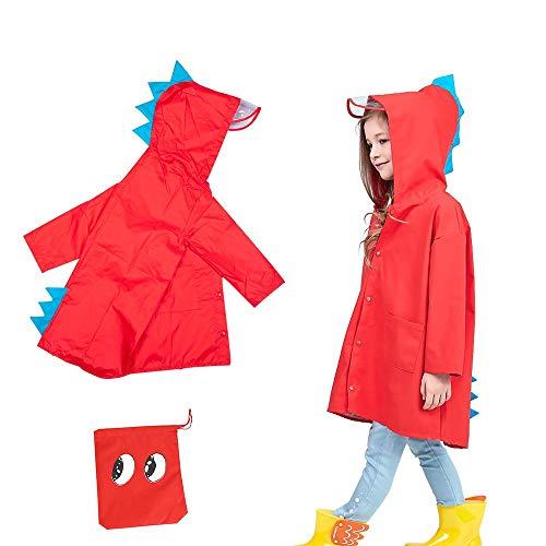 (Rain Coat for Kids Girl,Toddler Boy Dinosaur Raincoat Jacket Poncho Rainwear with Hood (Red, S) )