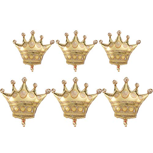 Zonon 6 Pieces Crown Balloons Golden Metallic Foil Balloons for Baby Shower Wedding Birthday Party Decorations, 2 -