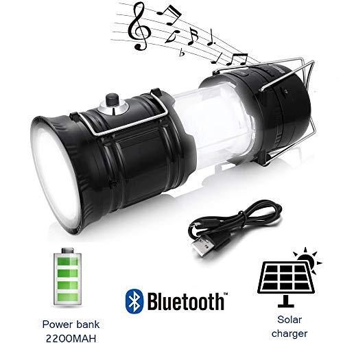 Solar Rechargeable Led Outdoor Camping Lantern Gutsdoor Flashlight Speaker Light 2200Mah Power Bank Radio Function for Hiking Emergency