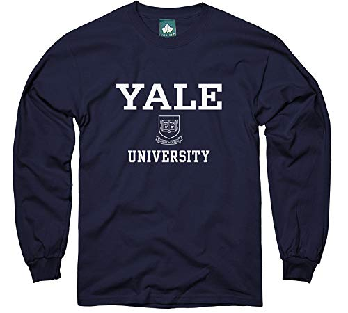 Ivysport Yale University Bulldogs Long Sleeve T-Shirt, Crest, Navy, Small