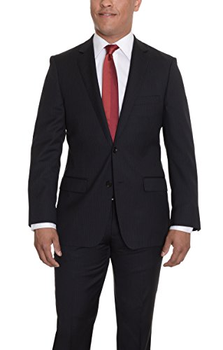 DKNY Trim Fit Black Pinstriped Two Button Wool Suit ()